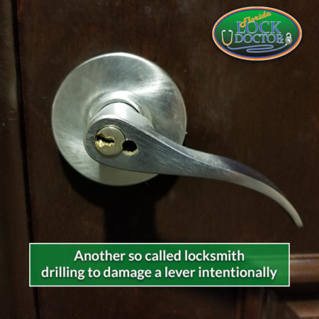 Locksmith drilling to damage a lever intentionally